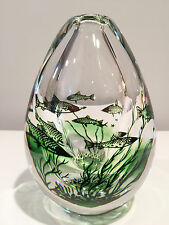 Orrefors Glass Graal Fish Vase by Edward Hald Signed