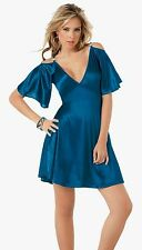 4055 Sexy Electric Blue Metallic Cocktail Mini DRESS Club wear Party L Large