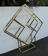 Tall Vintage Hollywood Regency Aluminum and Glass Display Shelf / Cabinet 7123