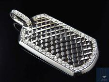 Exclusive Mens 10K White Gold Cushion Diamond Cut Dog Tag Pendant Charm 2.5""