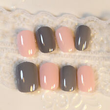 Hot Candy 24 Pcs Orange Grey Fake Nails Oval Short Artificial Nails