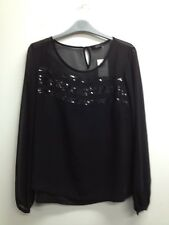 Marks And Spencer - Black Sheer Party Top With Vest Top Size Uk 12 (R458) BNWT