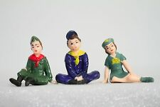 Boy Scout & Girl Scout Set of 3 Vintage Figures (Cool Cake Toppers)