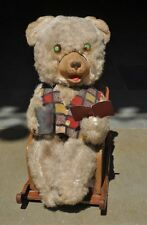 Vintage Battery MT Trademark Litho Bear Reading Book Tin Toy, Japan