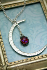 Celestial Dragons Breath Fire Opal Necklace Crescent Moon Mexican Fire Romantic