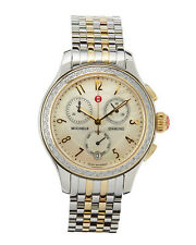 Auth MICHELE Jetway 2-Tone Gold/Silver Diamond Chrono Watch Bracelet NWT $2,195