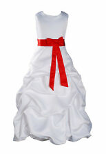 rojo y blanco nuevo Faja Dama De Honor Fiesta Niña Las Flores Vestido 12-13 Años