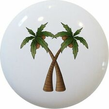 Coconut PALM TREES CABINET Dresser DRAWER Pull KNOB Ceramic