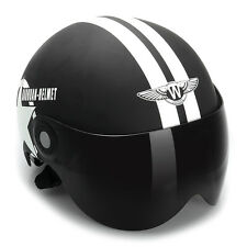 Motorcycle Helmet Black Half Open Face Adjustable Size Five-pointed Star
