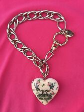 Betsey Johnson Vintage Betsey's Tea Party Pink Heart Locket Rose Bud Bracelet