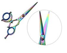 "Supreme 5.5"" Rainbow Titanium Swivel Thumb Hairdressing Scissors,Barber Shears"