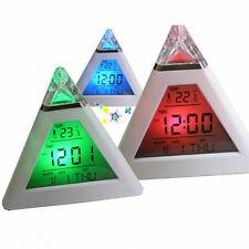 Piramide temperatura 7 colori LED cambiare retroilluminazione LED luna sveglia