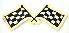 CHEQUERED FLAGS CHECKED Embroidered Sew Iron On Cloth Patch Badge APPLIQUE