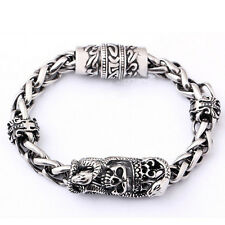 316L Stainless Steel Skull Bracelet Biker Chain Men's Bangle Punk Boxed Jewelry