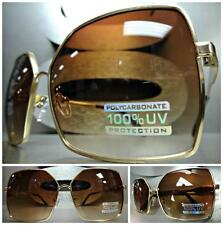 CLASSIC VINTAGE 80s RETRO JACKIE Style SUN GLASSES Large Square Gold Metal Frame