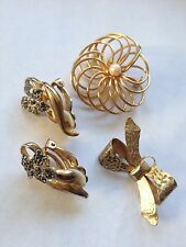 Vintage Jewelry Mixed Lot, 2 Goldtone Pins, 1 Pr. Clip Earrings, Unsigned