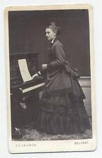 ANTIQUE CDV OF WOMAN AT PIANO . IMAGE BY E.T. CHURCH, BELFAST, IRELAND.