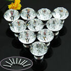 Cabinet Pulls 10X Zinc Alloy Clear Glass Crystal Sparkle Drawer Knob Door Handle