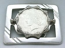 Silver Color Square REAL 1923 Peace Silver Dollar Belt Buckle PBB79