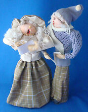 "vintage 1980s handcrafted Christmas carolers figurines 15"" tall"