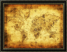 Retro Yellow Paper World Map Removable Wall Sticker Decal Mural Art Office Decor
