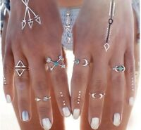 6 pcs Silver Rings Set Knuckle Urban Stack Above Band Midi Turquoise Rings