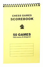 Softcover Chess Scorebook - Record 50 Games – Blank Diagrams - Yellow Score Book