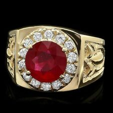 7 GRAMS~14K YELLOW GOLD 3.00ct. AFRICAN RUBY .50ct. GENIUNE DIAMOND  MEN`S RING