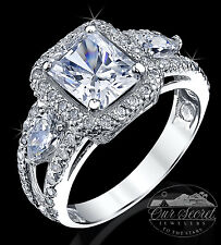 2.5 ct Radiant Cut Ring Top AAAAA CZ Imitation Moissanite Simulant SS Size 7