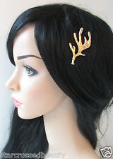 Gold Antler Hair Clip GAME OF THRONES Boho Crown Slide Bobby Pin Medieval L64