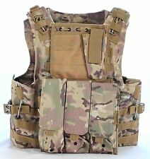 Multicam Tactical Vest Airsoft /Paintball Molle Combat Assault Vest + Pouches