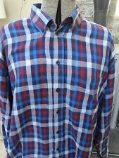 Vintage 90s JAMES PRINGLE Blue Red Soft Flannel Style Shirt Size L