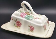 """Vintage Unmarked Cheese Dish. Floral Pattern to Lid, Base 7 1/4"""" Long"""