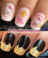 NAIL ART SET #63. HELLO KITTY LACE WATER TRANSFERS/DECAL/STICKERS & GOLD LEAF