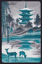 1 Single VINTAGE Swap/Playing Card ANIMALS DEER DOE ORIENTAL TEMPLE WEEPING TREE