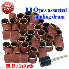 "110 pc Assorted Rotary Tool Sanding Drum 1/2"" x 1/2"" For Dremel Foredom 1/8"""