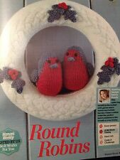 Christmas Wreath With Holly And Cheery Round Robins Knitting Pattern