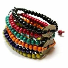 Feng Shui Bracelets - Wood Beads with Chinese Coin - Set of 6