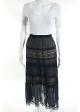 NWT CATHERINE DEANE Blue Beige Crochet Knit Detail Sheer Maxi Skirt Sz 4