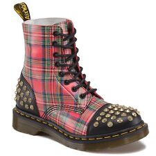 Dr. Martens Women's 1460 DAI Studded Toe Cap Red Black Tartan US 5 EU 36 UK 3