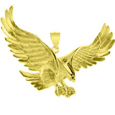 Fine 10k Yellow Gold Flying Eagle Pendant with CZ Made in USA