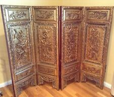 Asian Screen Divider Panel Heavy Hand Carved Painted Wood Birds Flower Poem Gold