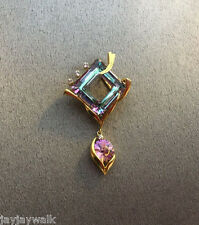 "SWAROVSKI ""VITRAL LIGHT"" STATEMENT CRYSTAL ELEMENTS PENDANT GOLD PLATED"