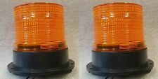 TWO Xenon Multi Flash Amber Orange Beacon Car Van Truck Permanen Mount 12v - 24v
