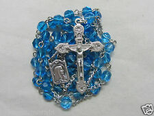 "† ""TO BE BLESSED"" 50% OFF SALE SILVER TONED & LIGHT BLUE FACETED GLASS ROSARY †"