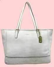 COACH 23576 CITY Chalk Saffiano Leather MD E/W Tote Handbag Msrp $298