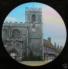 Glass Magic lantern slide STRATFORD UPON AVON C1890 CHAPEL-OF EASE & SCHOOL