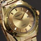 Gold AgentX Mens Luxury Date Sport Quartz Stainless Steel Wrist Watch + Bookmark