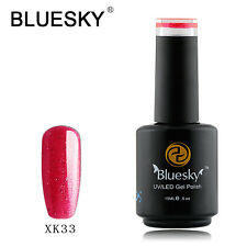 Bluesky Soak Off UV LED Gel Nail Polish Fiery Pink Gold Glitter X33