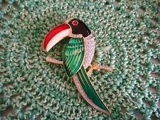 """Vintage 1980's """"Bold Elegance"""" Signed Toucan Brooch ~ Sequined and Enameled"""